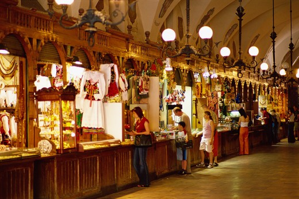 Arcade, Sukiennice, Cloth Hall, Market Square, Krakow, Poland : Stock Photo