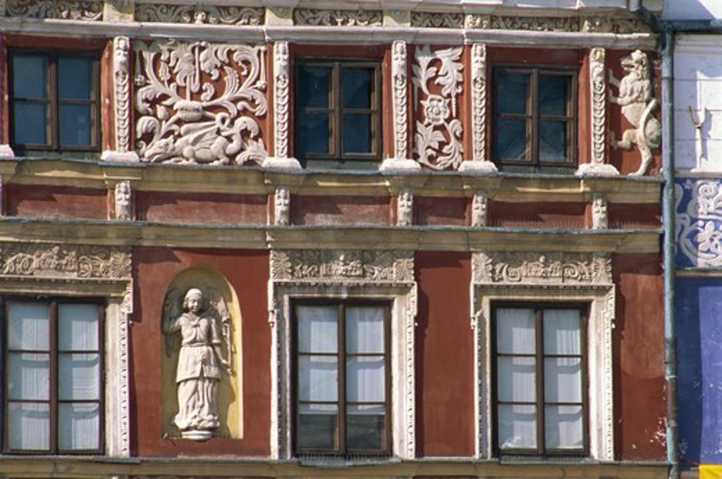 Stock Photo: 4285R-24663 Stuccowork, Burgher Houses, Zamosc, Lublin Region, Poland