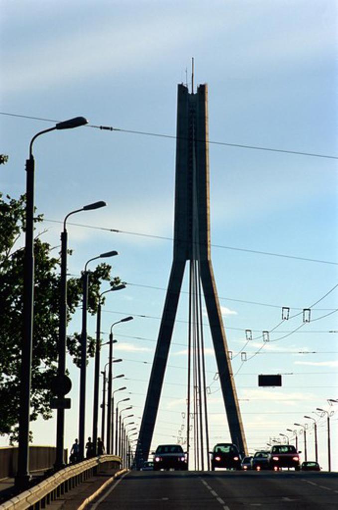 Vansu Bridge, Daugava River, Riga, Latvia : Stock Photo