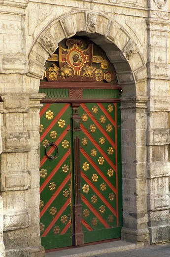 Stock Photo: 4285R-24811 Brotherhood of Blackheads Fraternity Hall Door, Old Town, Tallinn, Estonia
