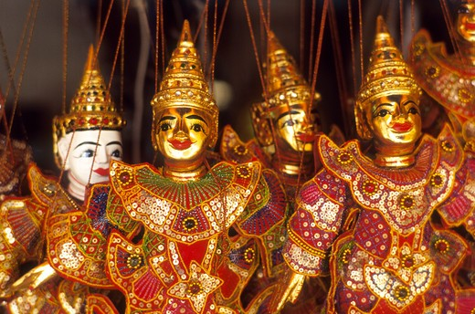 Stock Photo: 4285R-25219 Thailand, Chiang Mai, Souvenirs, Gold Puppets