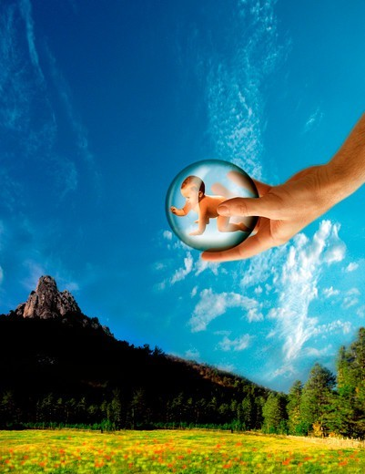 Baby & hand of God #3E4 : Stock Photo