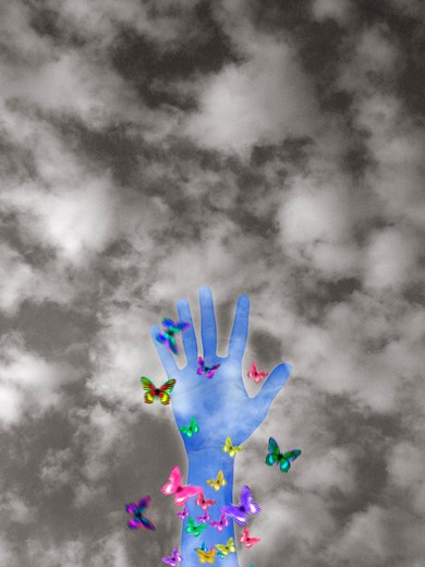 Stock Photo: 4286-17195 Hand with butterflies MR466