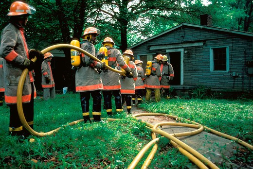 Stock Photo: 4286-17735 Firefighters in training #031