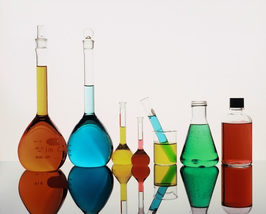 Laboratory glassware. : Stock Photo