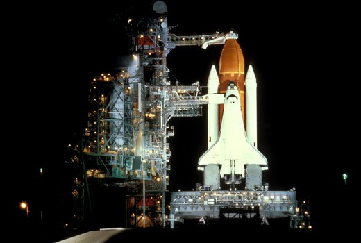 Space shuttle on launch pad. : Stock Photo