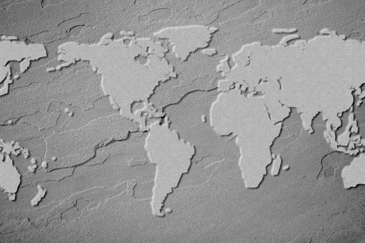 Outline of earth map on flagstone. : Stock Photo