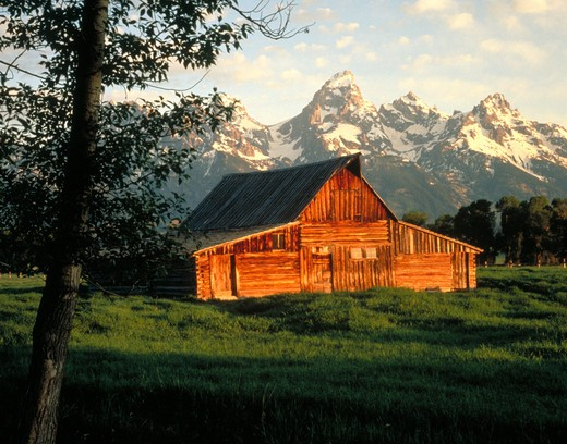 Stock Photo: 4286-18838 Clark Moulton Barn and Grand Tetons.