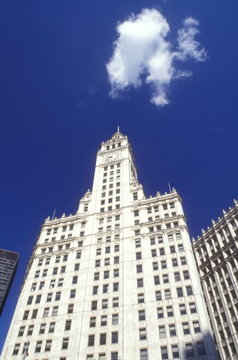 Stock Photo: 4286-18941 Chicago, Illinois, Wrigley Building and Skyline of downtown Chicago.