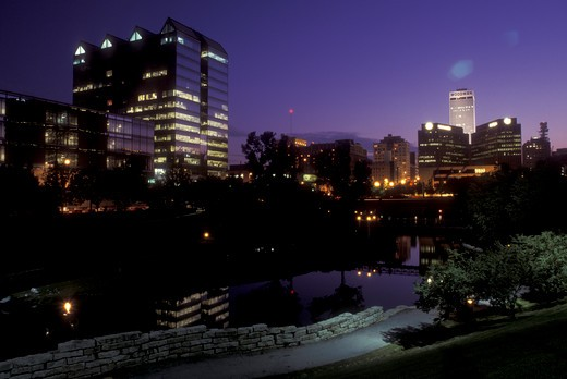 Stock Photo: 4286-18969 Nebraska, The skyline of downtown Omaha in the evening from the Gene Leahy Mall.