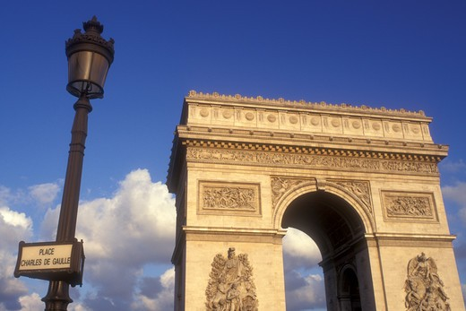 Stock Photo: 4286-19076 Arc de Triomphe, Paris, France, Europe, The Arc de Triomphe (Triumph) stands majestically above the Place Charles de Gaulle Etoile.