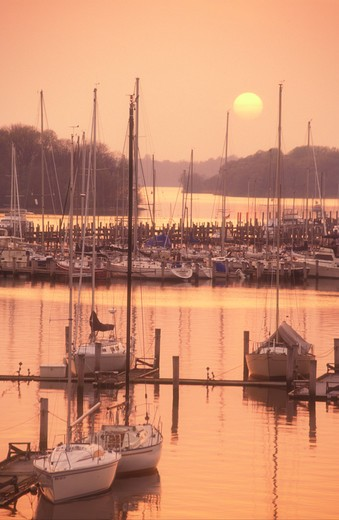 Stock Photo: 4286-19204 sunset, sunrise, marina, Georgetown, Maryland, Sunset over the marina on Sassatras River in Chesapeake Bay in Georgetown in Maryland.