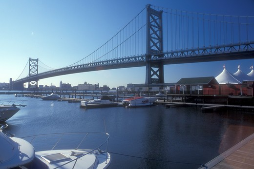 Stock Photo: 4286-19223 Philadelphia, Penn's Landing, Pennsylvania, Benjamin Franklin Bridge from Historic Penn's Landing on the Delaware River in Philadelphia, Pennsylvania.