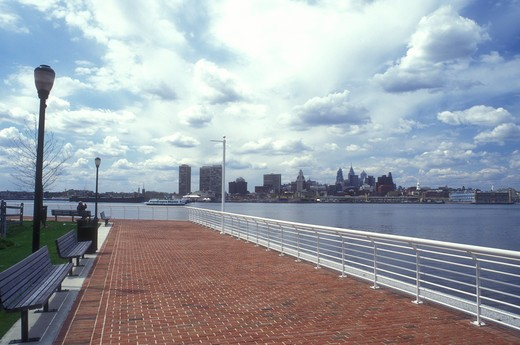 Stock Photo: 4286-19229 Camden, New Jersey, View of the downtown skyline of Philadelphia from the riverfront park on the Delaware River in Camden, New Jersey.