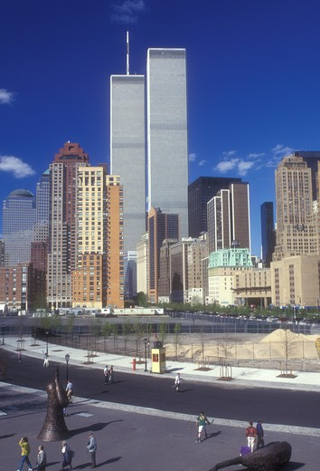 Stock Photo: 4286-19237 World Trade Center, New York City, Manhattan, Battery Park, New York, N.Y.C., Lower Manhattan skyline and World Trade Center Twin Towers from Battery Park in New York City, New York.
