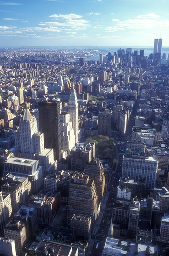 New York City, Manhattan, New York, N.Y.C., Aerial view of New York City, New York looking south towards Lower Manhattan from the Empire State Building. : Stock Photo