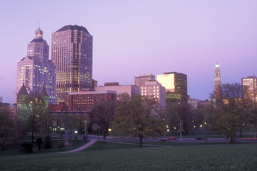 Stock Photo: 4286-19250 Hartford, skyline, Bushnell Park, Connecticut, The downtown skyline of Hartford the capital city of Connecticut from Bushnell Park in the evening.