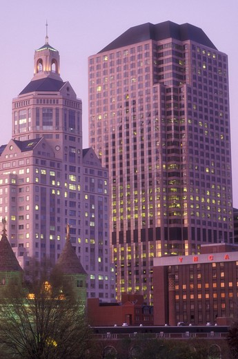 Stock Photo: 4286-19253 Hartford, skyline, Connecticut, The downtown skyline of Hartford the capital city of Connecticut in the evening.