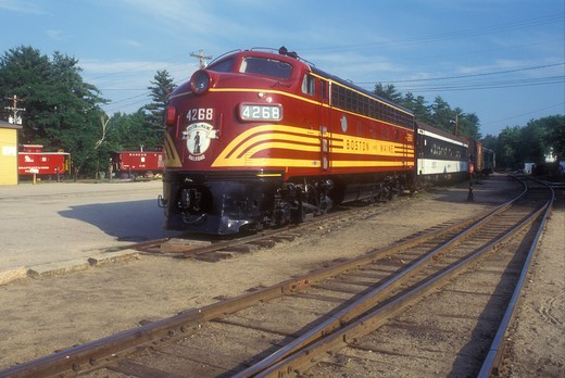 Stock Photo: 4286-19266 train, New Hampshire, Red locomotive displayed at Conway Scenic Railroad Station built in 1874 & Museum in North Conway, New Hampshire.