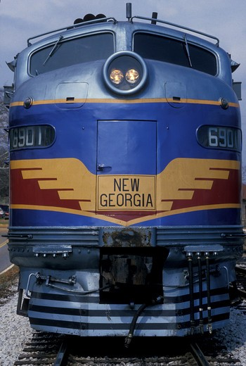 Stock Photo: 4286-19312 locomotive, train, Georgia, Atlanta, The old-time New Georgia Railroad passenger train carries tourists from Atlanta to Stone Mountain.