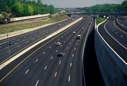 Atlanta, interstate, expressway, road, Georgia, View of Interstate 85 from Peachtree Road in Atlanta. : Stock Photo
