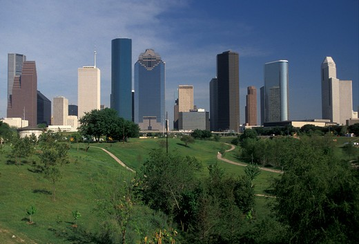 Houston, Texas, skyline, high rise, Skyline of downtown Houston from Tranquility Park. : Stock Photo