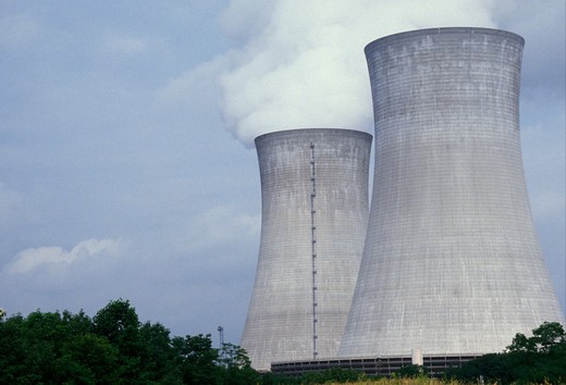 Stock Photo: 4286-19336 nuclear power plant, Pennsylvania, Steam rises above cooling towers at the Philadelphia Electric Co. nuclear power plant in Limerick.