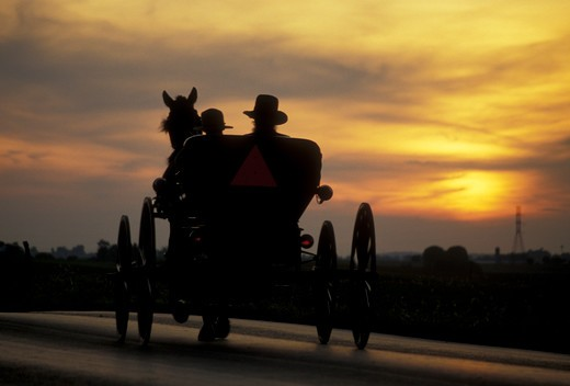 Stock Photo: 4286-19401 amish, buggy, silhouette, Amish country, Lancaster County, Pennsylvania, Pennsylvania Dutch Country, A silhouette of an Amish couple riding in an open buggy on a country road at sunset (sunrise) in Lancaster in the state of Pennsylvania.