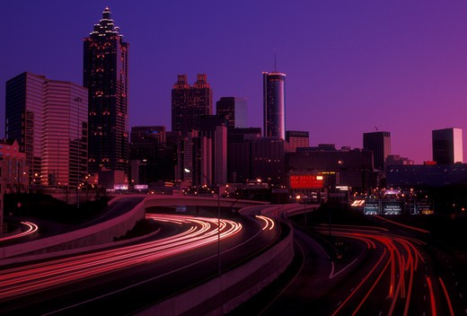 Stock Photo: 4286-19471 skyline, Atlanta, downtown, Georgia, Skyline of downtown Atlanta at sunset from Downtown Connector Interstate I-85/I-75 in the state of Georgia.