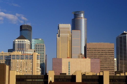 skyline, Minneapolis, MN, Minnesota, Twin Cities, Downtown skyline of Minneapolis. : Stock Photo