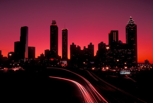 skyline, Atlanta, Georgia, GA, Skyline of downtown Atlanta and traffic from Jackson Street at sunset.  : Stock Photo