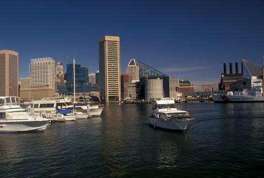 Baltimore, Maryland, MD, View of the downtown skyline of Baltimore and the Inner Harbor. : Stock Photo