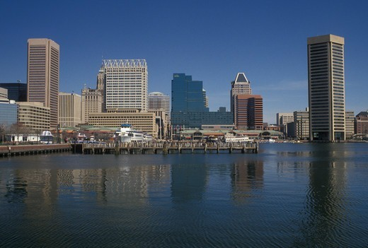 Stock Photo: 4286-19891 skyline, Baltimore, Maryland, MD, View of the downtown skyline of Baltimore and the Inner Harbor.