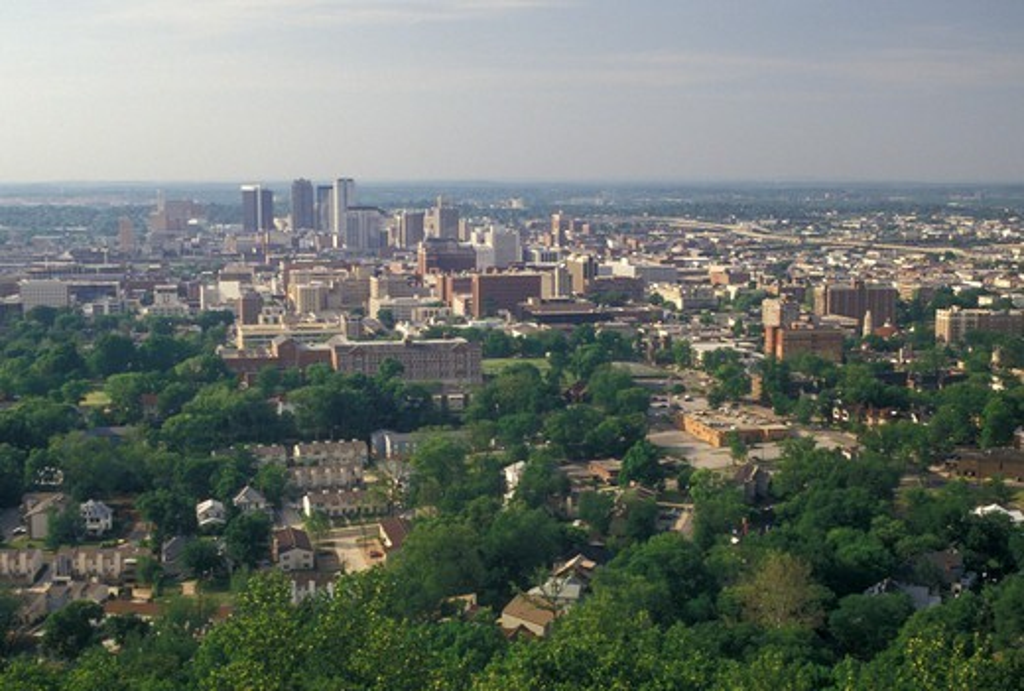 Birmingham, AL, Alabama, View of the city of Birmingham from Vulcan Park. : Stock Photo