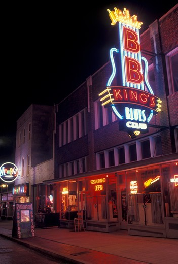 Stock Photo: 4286-19914 Beale Street, Memphis, B.B. King, neon sign, TN, Tennessee, BB King's Blues Club illuminated at night on Beale Street in Memphis.