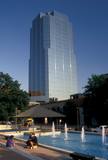 Stock Photo: 4286-19933 Little Rock, AR, Arkansas, Fountain in the public plaza and Stevens Building in downtown Little Rock.