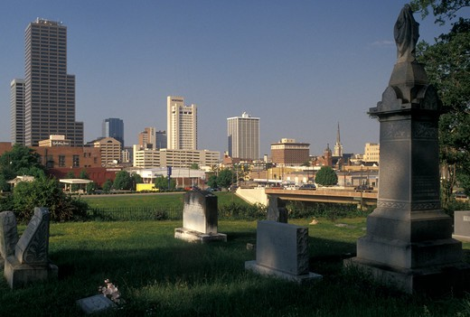 Little Rock, skyline, AR, Arkansas, Downtown skyline of Little Rock from Mount Holly Cemetery. : Stock Photo