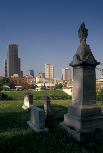 Stock Photo: 4286-19953 Little Rock, skyline, AR, Arkansas, Downtown skyline of Little Rock from Mount Holly Cemetery.