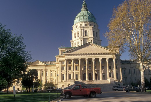 State Capitol, Topeka, State House, KS, Kansas, Kansas State Capitol Building in the capital city of Topeka. : Stock Photo