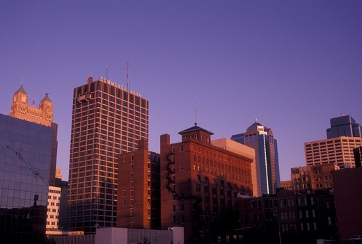 Stock Photo: 4286-20016 skyline, Kansas City, MO, Missouri, Skyline of downtown Kansas City at sunset.