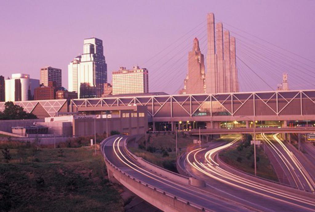 Kansas City, skyline, MO, Missouri, Skyline of downtown Kansas City at sunset. : Stock Photo