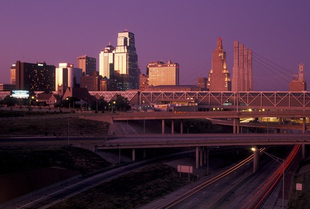 Stock Photo: 4286-20018 Kansas City, skyline, MO, Missouri, Skyline of downtown Kansas City at sunset.
