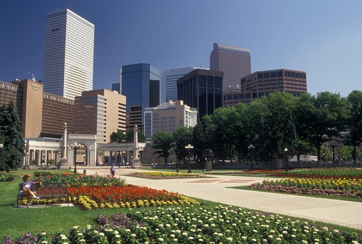 Stock Photo: 4286-20020 Denver, CO, Colorado, Skyline of downtown Denver from Civic Center Park adorned with flowers.
