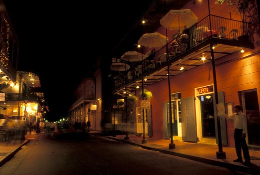 New Orleans, LA, Bourbon Street, French Quarter, Louisiana, Bourbon Street at night in the French Quarter in New Orleans.  : Stock Photo
