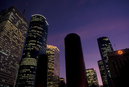 Stock Photo: 4286-20162 Houston, TX, skyline, Texas, Downtown from Tranquility Park in Houston at sunset.