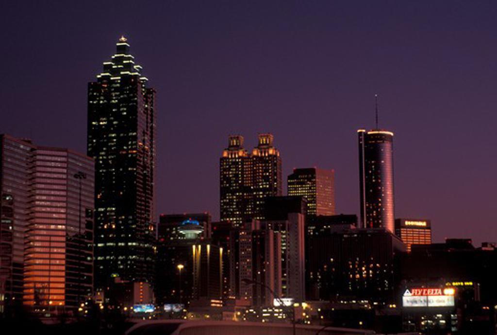 Stock Photo: 4286-20181 Atlanta, GA, Georgia, Skyline of downtown Atlanta at sunset.
