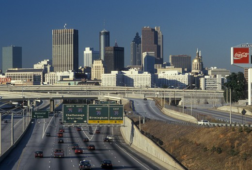 Atlanta, GA, Georgia, Skyline of downtown Atlanta along I-75/I-85  : Stock Photo