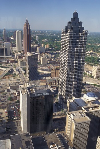 aerial, Atlanta, GA, Georgia, Aerial view of the city of Atlanta looking North. : Stock Photo