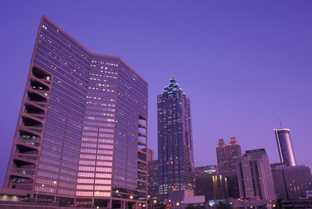 Atlanta, skyline, GA, Georgia, Skyline of downtown Atlanta in the evening. : Stock Photo