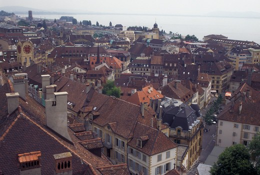 Switzerland, Neuchatel, Scenic aerial view of the city of Neuchatel and Lake Neuchatel. : Stock Photo